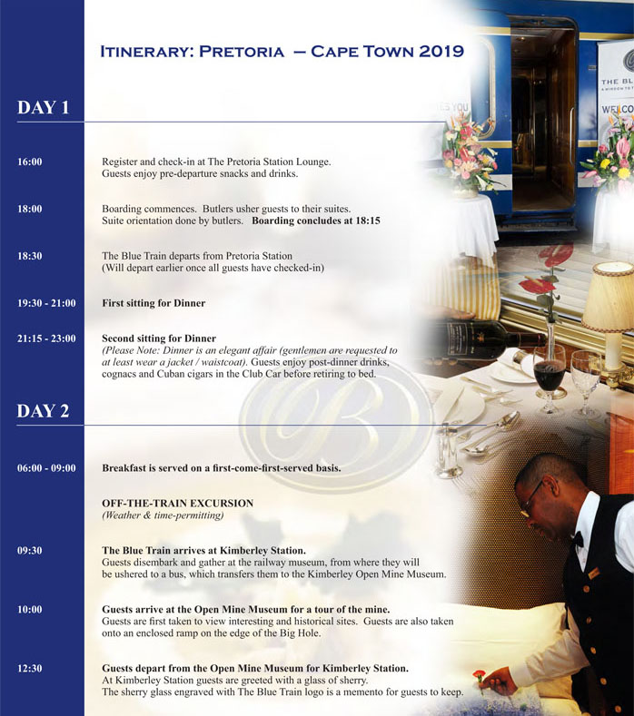 Blue Train 2019 PTA-CTN Itinerary 1