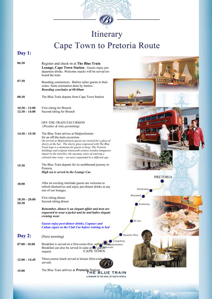 Blue Train Itinerary Cape Town to Pretoria